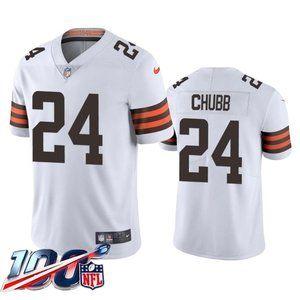 Browns Nick Chubb White Jersey
